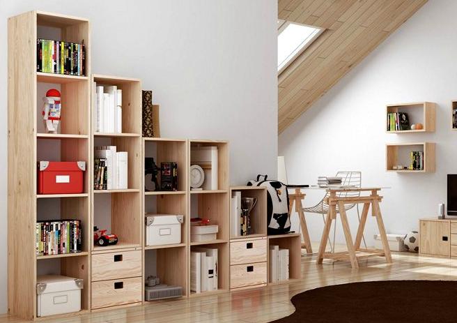 Muebles librerias baratas apilable saln diseo moderno cm for Tresillos baratos en madrid